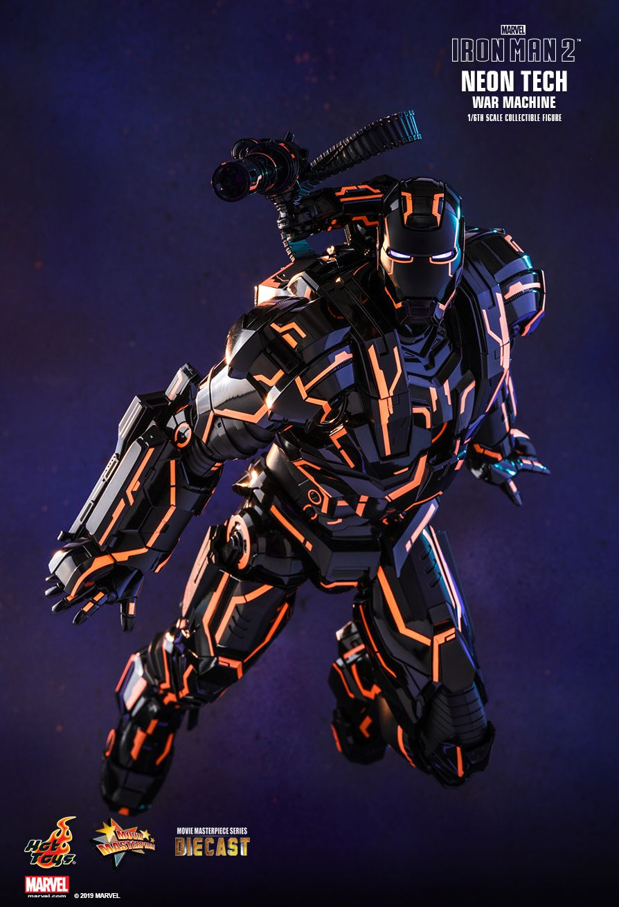 NEW PRODUCT: HOT TOYS: IRON MAN 2 NEON TECH WAR MACHINE 1/6TH SCALE COLLECTIBLE FIGURE (EXCLUSIVE EDITION) 11201