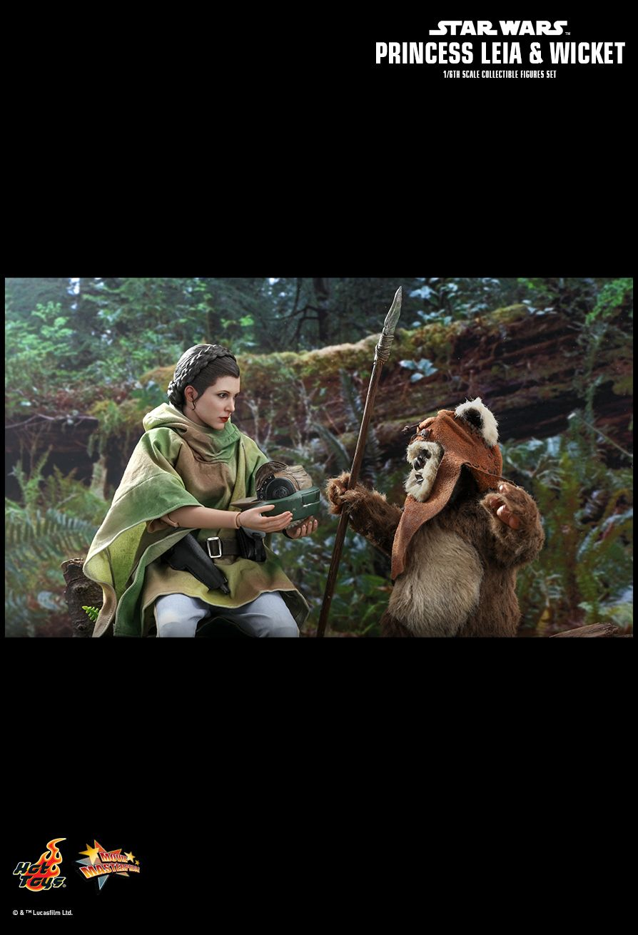 NEW PRODUCT: HOT TOYS: STAR WARS: RETURN OF THE JEDI PRINCESS LEIA AND WICKET 1/6TH SCALE COLLECTIBLE FIGURES SET 12169