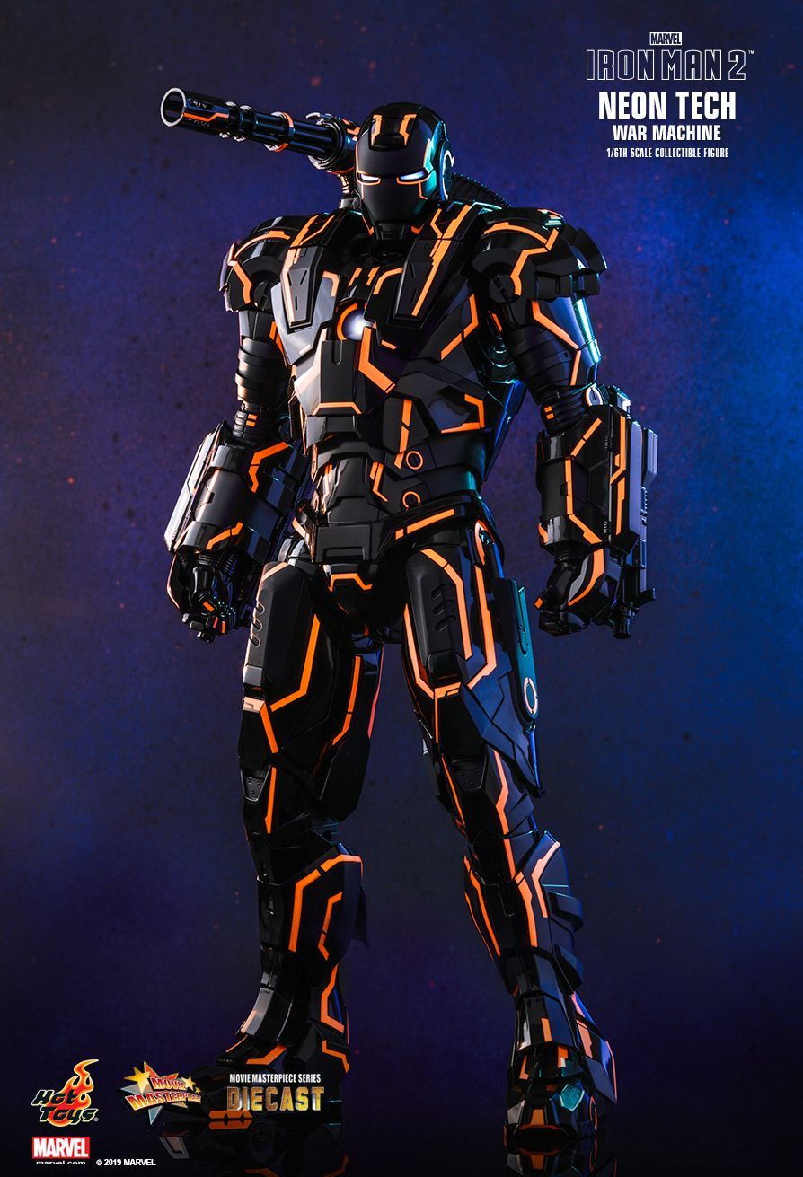 NEW PRODUCT: HOT TOYS: IRON MAN 2 NEON TECH WAR MACHINE 1/6TH SCALE COLLECTIBLE FIGURE (EXCLUSIVE EDITION) 12185