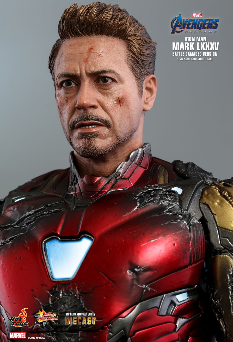 marvel - NEW PRODUCT: HOT TOYS: AVENGERS: ENDGAME IRON MAN MARK LXXXV (BATTLE DAMAGED VERSION) 1/6TH SCALE COLLECTIBLE FIGURE 14134