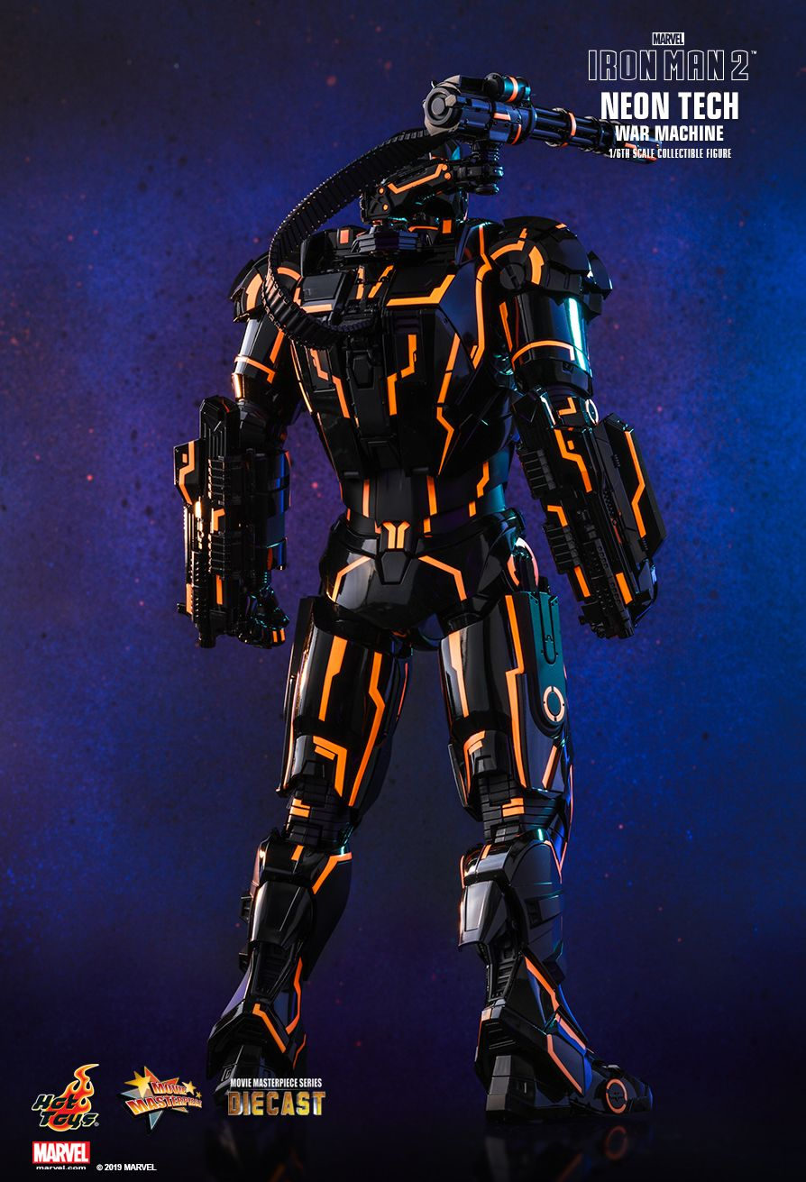 NEW PRODUCT: HOT TOYS: IRON MAN 2 NEON TECH WAR MACHINE 1/6TH SCALE COLLECTIBLE FIGURE (EXCLUSIVE EDITION) 14153