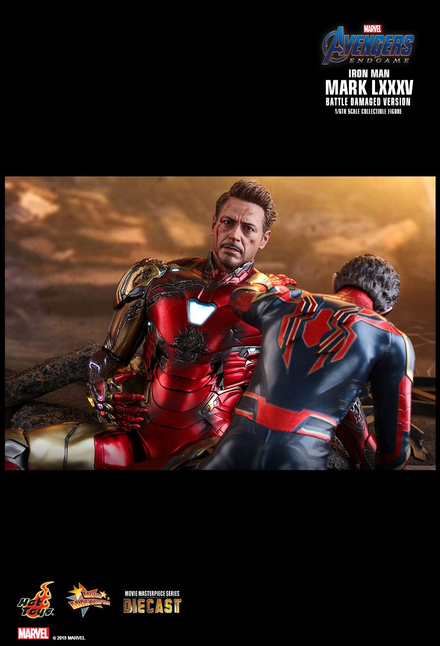 marvel - NEW PRODUCT: HOT TOYS: AVENGERS: ENDGAME IRON MAN MARK LXXXV (BATTLE DAMAGED VERSION) 1/6TH SCALE COLLECTIBLE FIGURE 15122