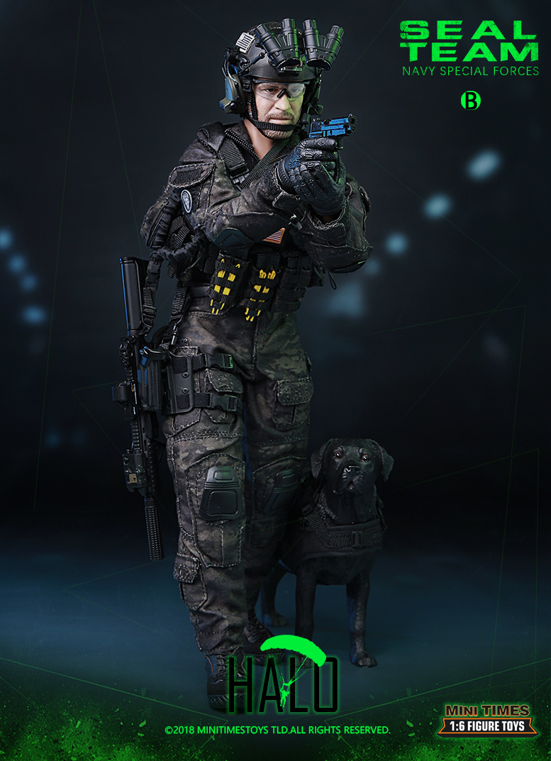 "Dog - NEW PRODUCT: MINI TIMES TOYS US NAVY SEAL TEAM SPECIAL FORCES ""HALO"" 1/6 SCALE ACTION FIGURE MT-M013 1647"