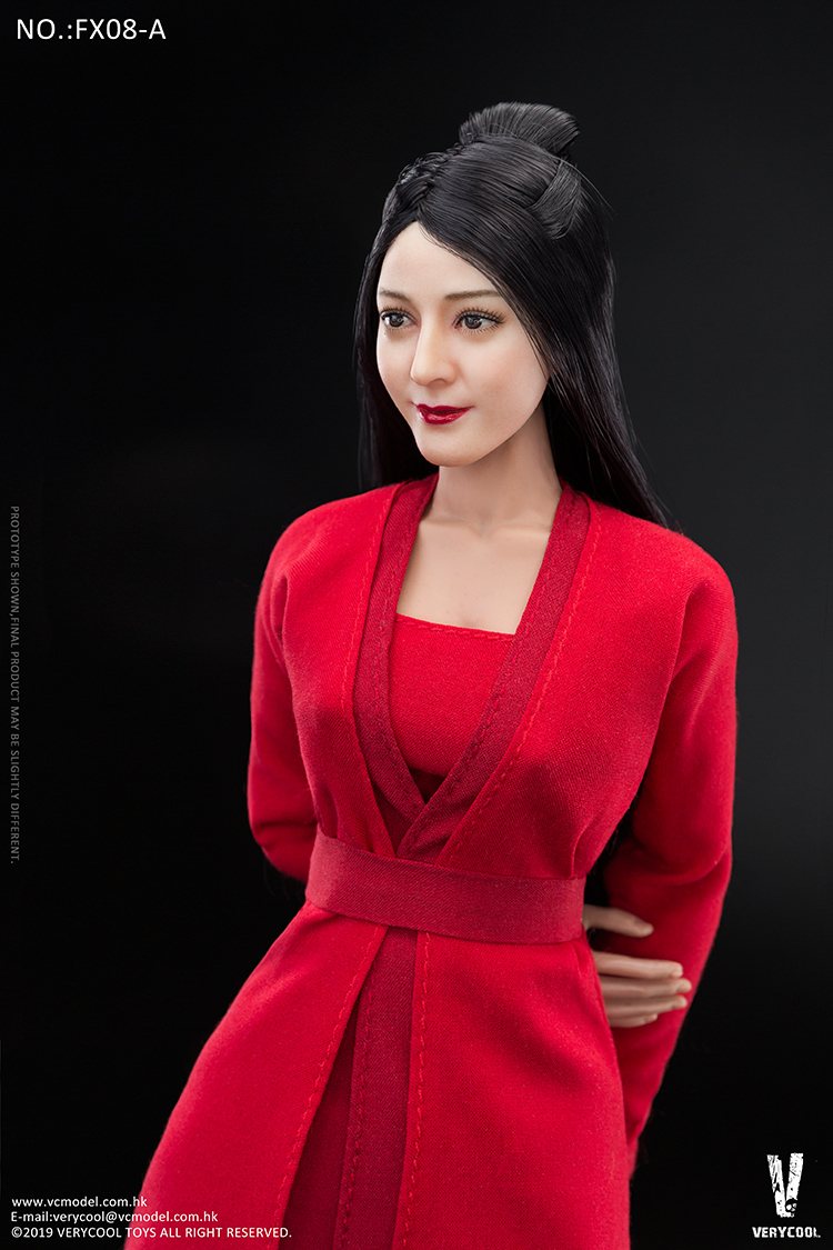 body - NEW PRODUCT: VERYCOOL: 1/6 Asian beauty head carving + VC 3.0 semi-encapsulated female body suit & costume red dress set single sale 19300410