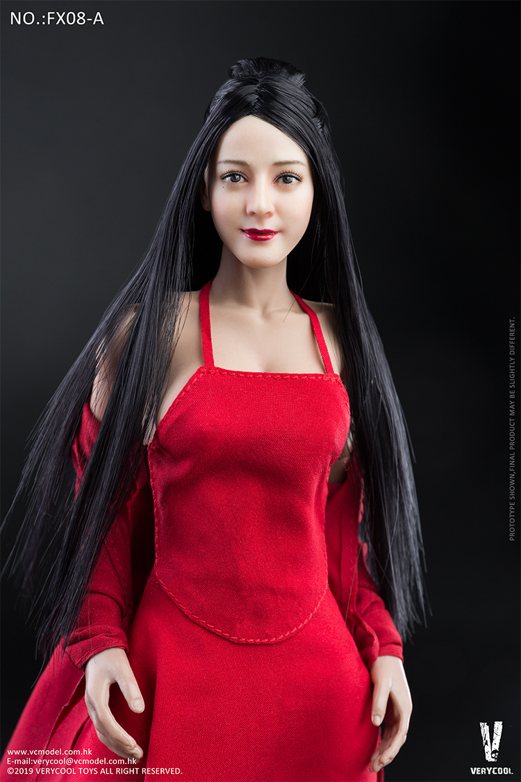 body - NEW PRODUCT: VERYCOOL: 1/6 Asian beauty head carving + VC 3.0 semi-encapsulated female body suit & costume red dress set single sale 19300510