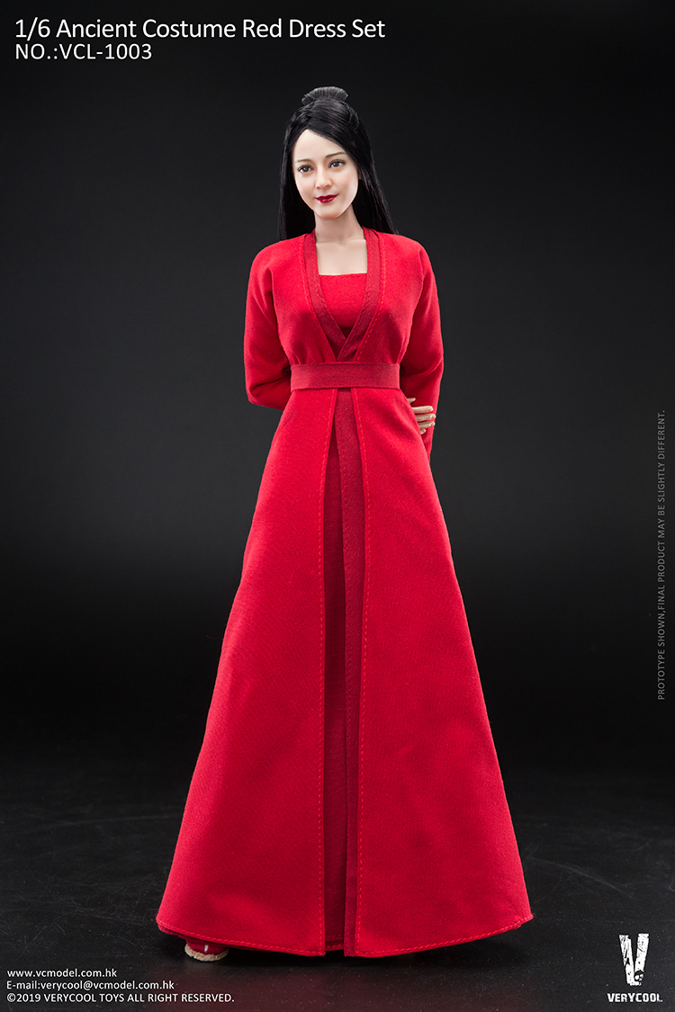 body - NEW PRODUCT: VERYCOOL: 1/6 Asian beauty head carving + VC 3.0 semi-encapsulated female body suit & costume red dress set single sale 19351311