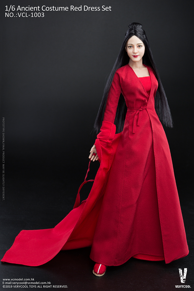 body - NEW PRODUCT: VERYCOOL: 1/6 Asian beauty head carving + VC 3.0 semi-encapsulated female body suit & costume red dress set single sale 19351410