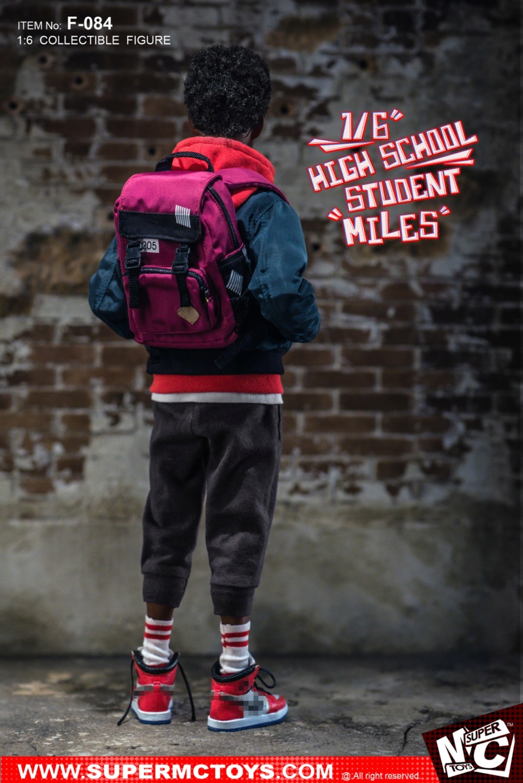 male - NEW PRODUCT: SUPERMCTOYS: 1/6 High School Students - Little Black Miles Miles Movable F-084# 19372410