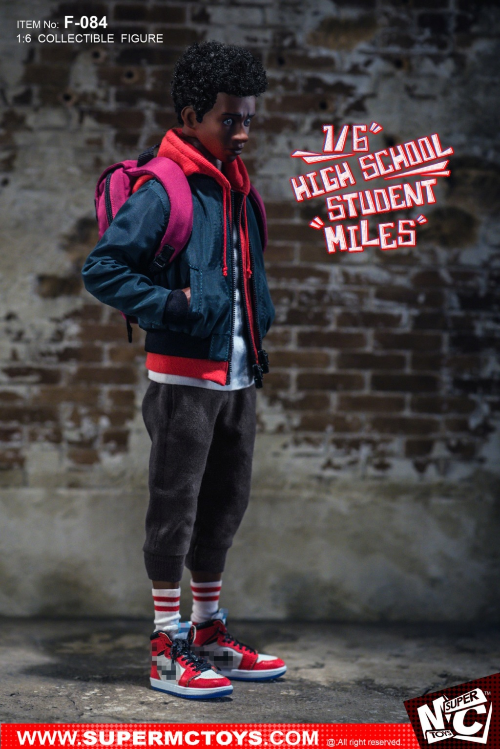 male - NEW PRODUCT: SUPERMCTOYS: 1/6 High School Students - Little Black Miles Miles Movable F-084# 19372710