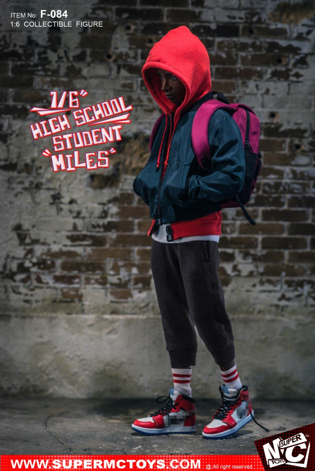 male - NEW PRODUCT: SUPERMCTOYS: 1/6 High School Students - Little Black Miles Miles Movable F-084# 19373010