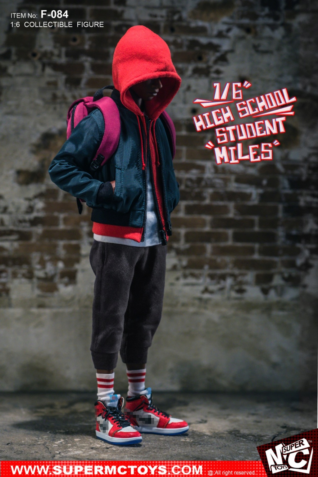male - NEW PRODUCT: SUPERMCTOYS: 1/6 High School Students - Little Black Miles Miles Movable F-084# 19373210