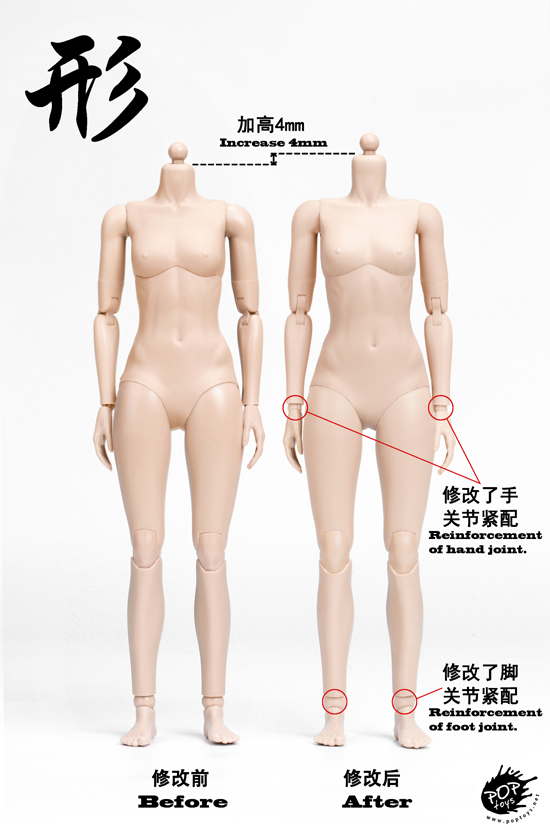 NEW PRODUCT: POPTOYS: 1 / 6 shape series [modified version] high movable female body - 92003 & 4 joint / 92005 & 6 plastic 1998