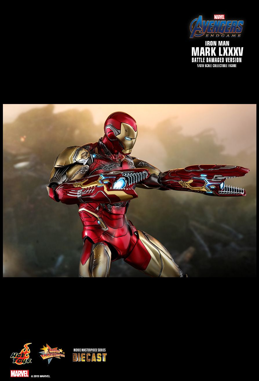 BattleDamaged - NEW PRODUCT: HOT TOYS: AVENGERS: ENDGAME IRON MAN MARK LXXXV (BATTLE DAMAGED VERSION) 1/6TH SCALE COLLECTIBLE FIGURE 2075