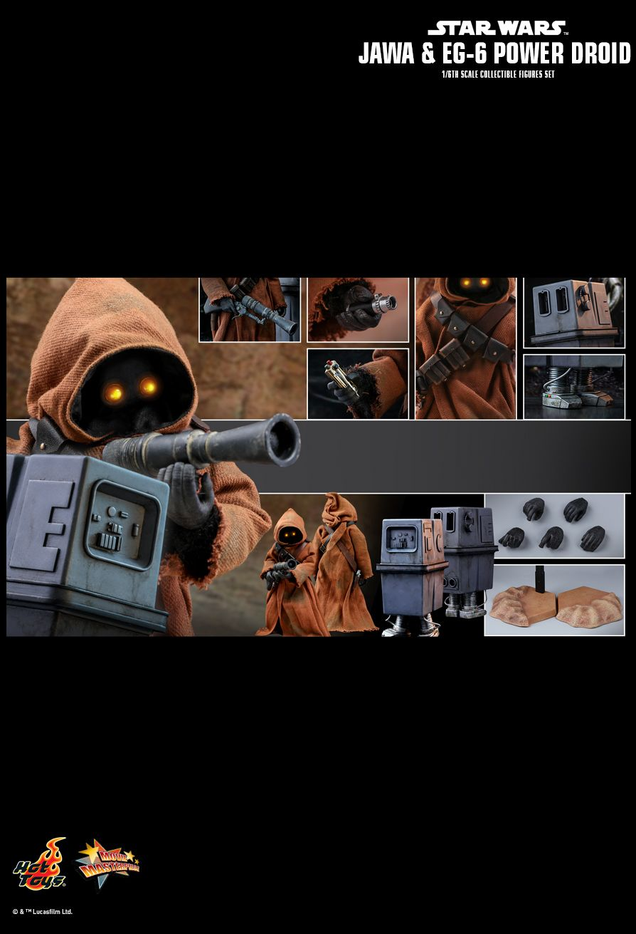 NEW PRODUCT: HOT TOYS: STAR WARS: EPISODE IV A NEW HOPE JAWA & EG-6 POWER DROID 1/6TH SCALE COLLECTIBLE SET 2083