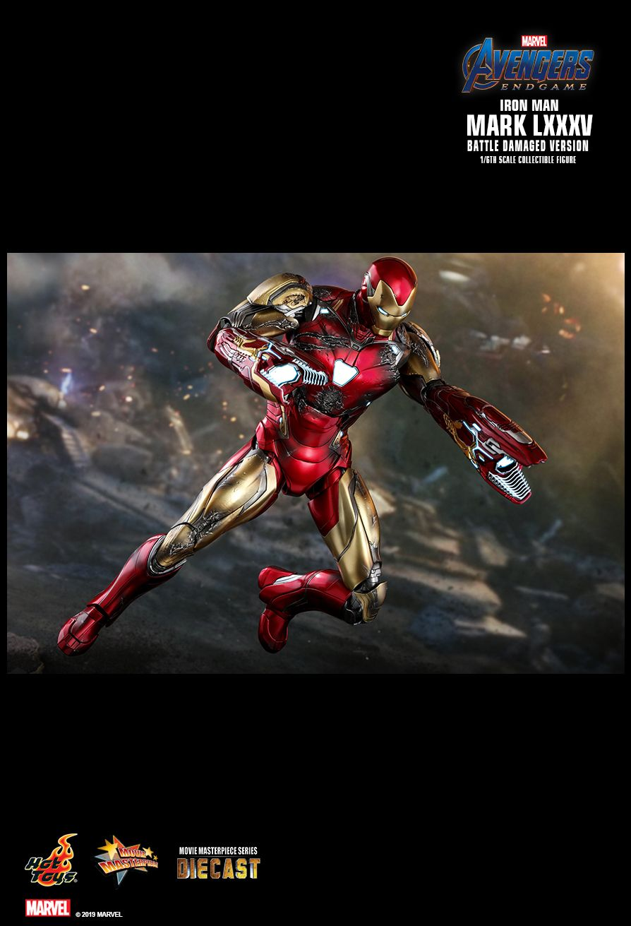 BattleDamaged - NEW PRODUCT: HOT TOYS: AVENGERS: ENDGAME IRON MAN MARK LXXXV (BATTLE DAMAGED VERSION) 1/6TH SCALE COLLECTIBLE FIGURE 21120