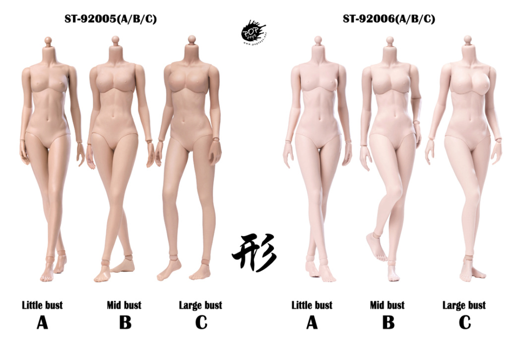 NEW PRODUCT: POPTOYS: 1 / 6 shape series [modified version] high movable female body - 92003 & 4 joint / 92005 & 6 plastic 22011910