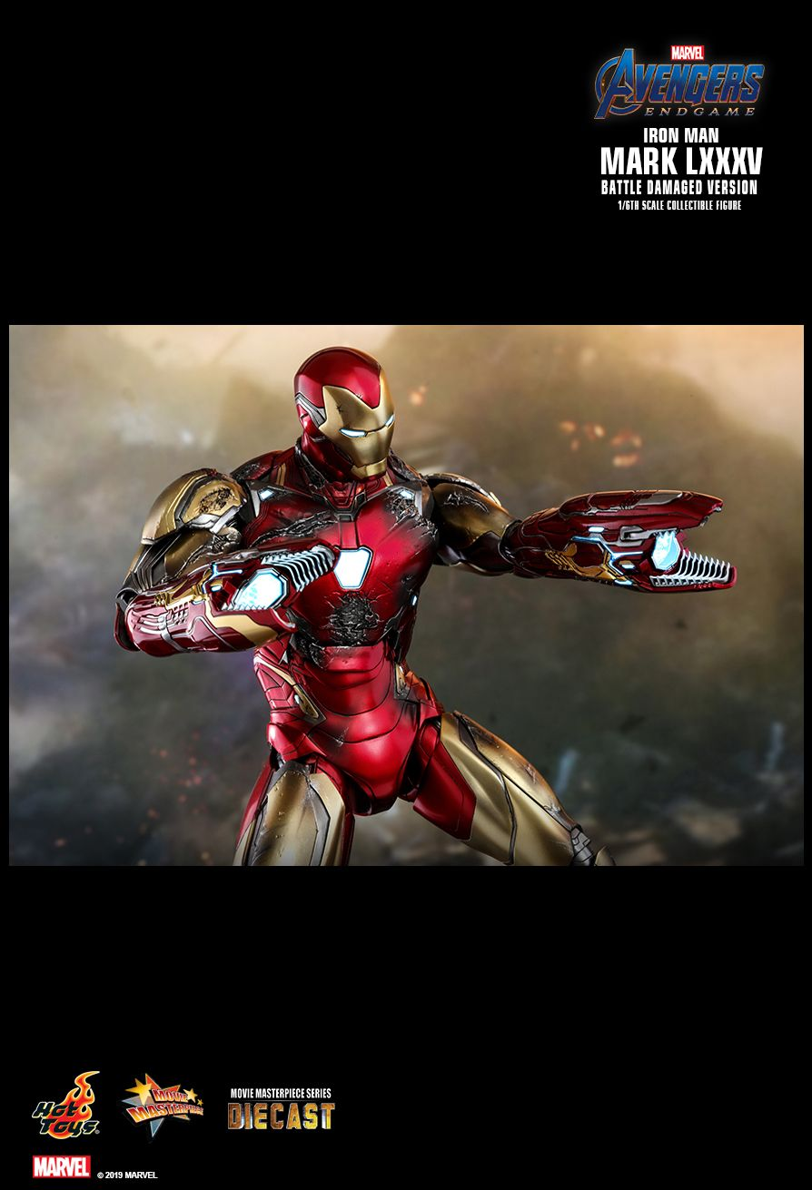 BattleDamaged - NEW PRODUCT: HOT TOYS: AVENGERS: ENDGAME IRON MAN MARK LXXXV (BATTLE DAMAGED VERSION) 1/6TH SCALE COLLECTIBLE FIGURE 22105
