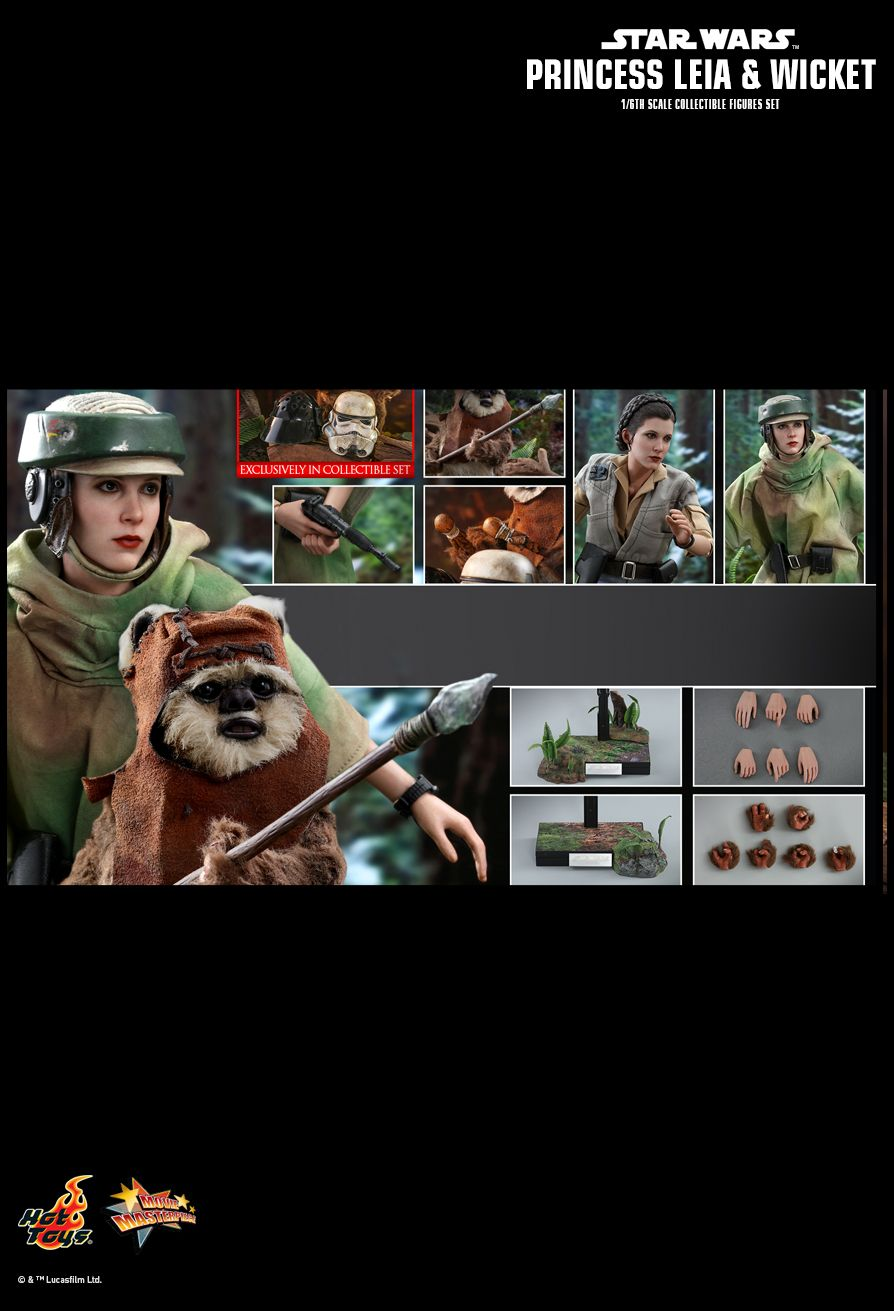 NEW PRODUCT: HOT TOYS: STAR WARS: RETURN OF THE JEDI PRINCESS LEIA AND WICKET 1/6TH SCALE COLLECTIBLE FIGURES SET 22107
