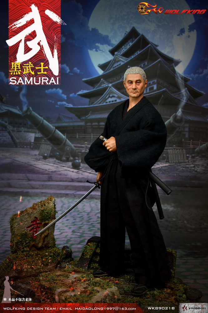 NEW PRODUCT: WOLFKING: 1/6 Black Warrior SAMURAI - Head Carving Costume Set (WK89021A.BCD) 22405210