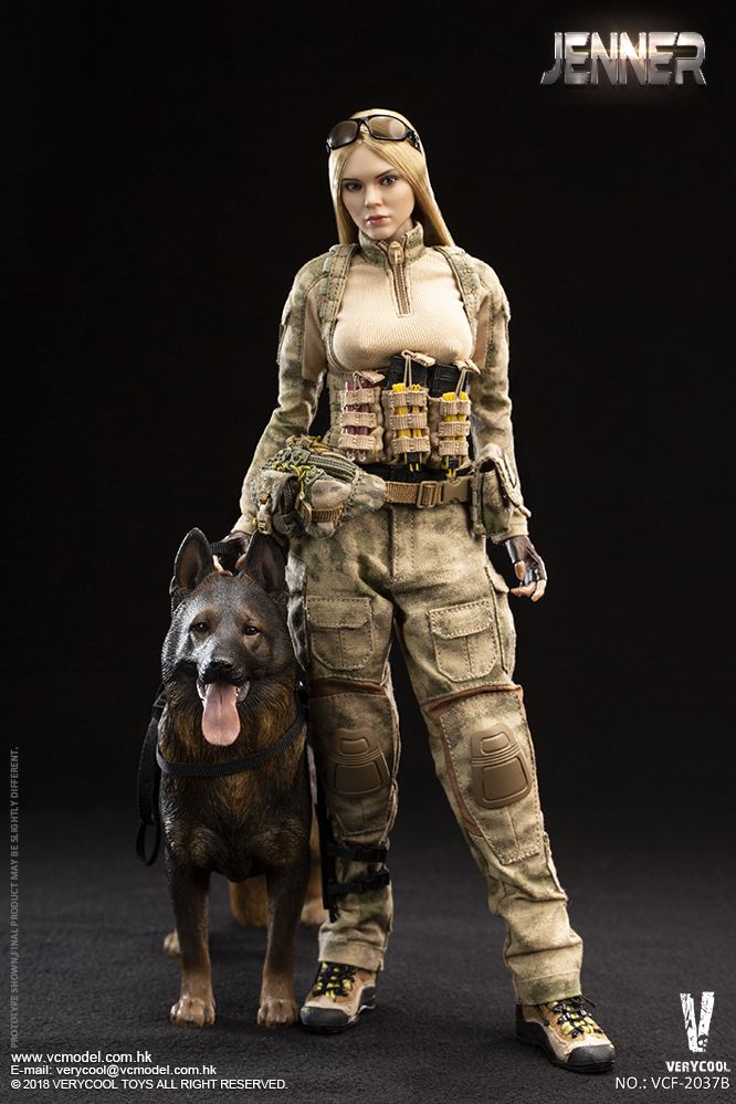 Dog - NEW PRODUCT: VERYCOOL new product: 1/6 ruin camouflage double female soldier - Jenna JENNER movable doll - A section & B section + German shepherd 23232910