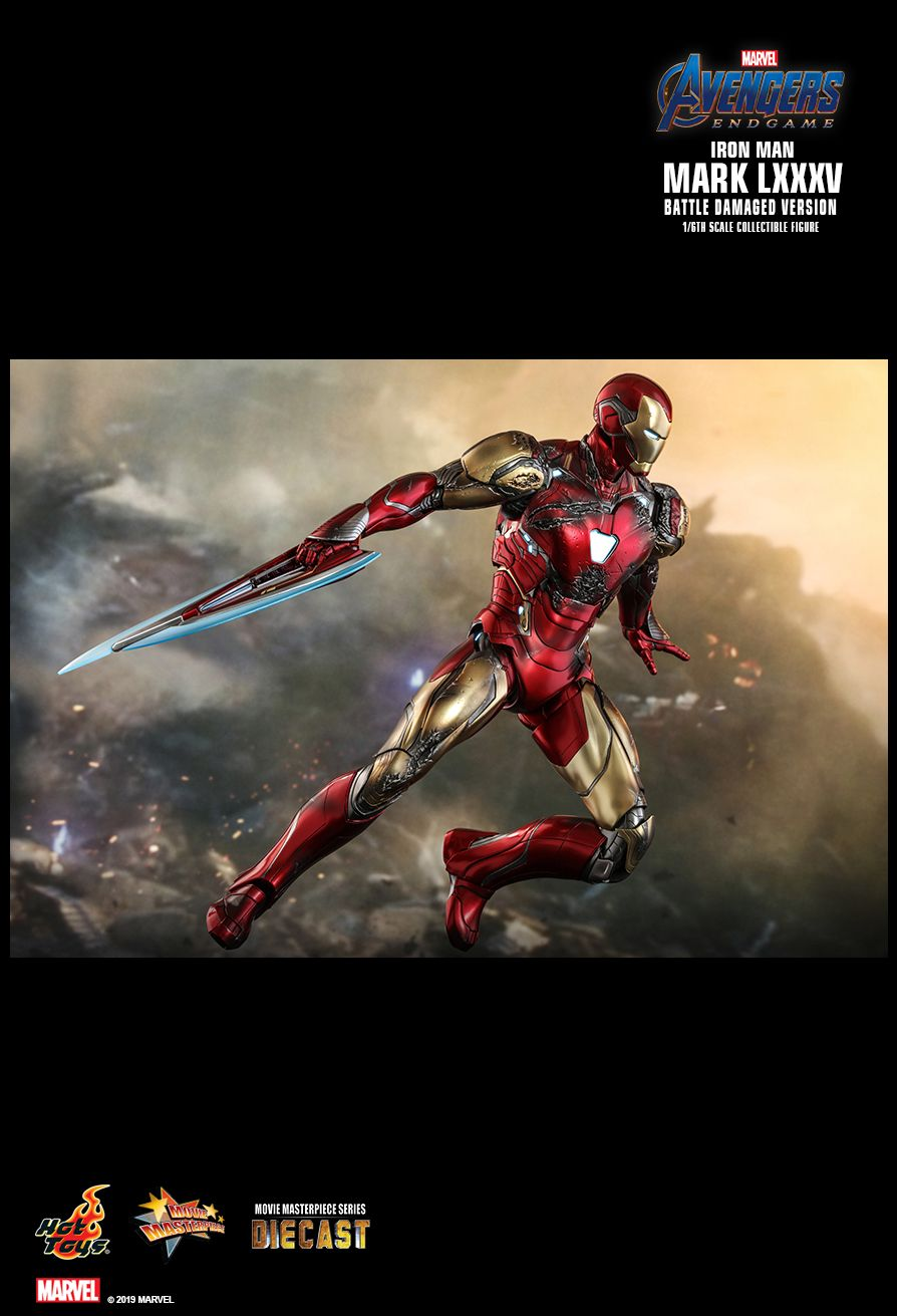 marvel - NEW PRODUCT: HOT TOYS: AVENGERS: ENDGAME IRON MAN MARK LXXXV (BATTLE DAMAGED VERSION) 1/6TH SCALE COLLECTIBLE FIGURE 2377
