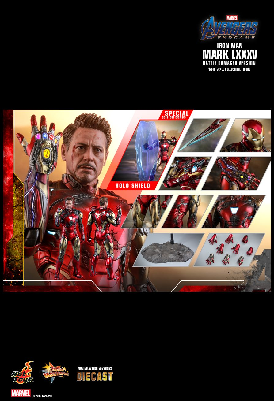 marvel - NEW PRODUCT: HOT TOYS: AVENGERS: ENDGAME IRON MAN MARK LXXXV (BATTLE DAMAGED VERSION) 1/6TH SCALE COLLECTIBLE FIGURE 2444