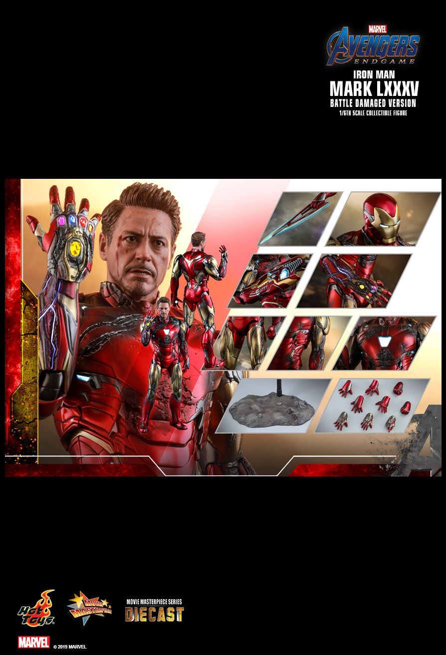 marvel - NEW PRODUCT: HOT TOYS: AVENGERS: ENDGAME IRON MAN MARK LXXXV (BATTLE DAMAGED VERSION) 1/6TH SCALE COLLECTIBLE FIGURE 2538