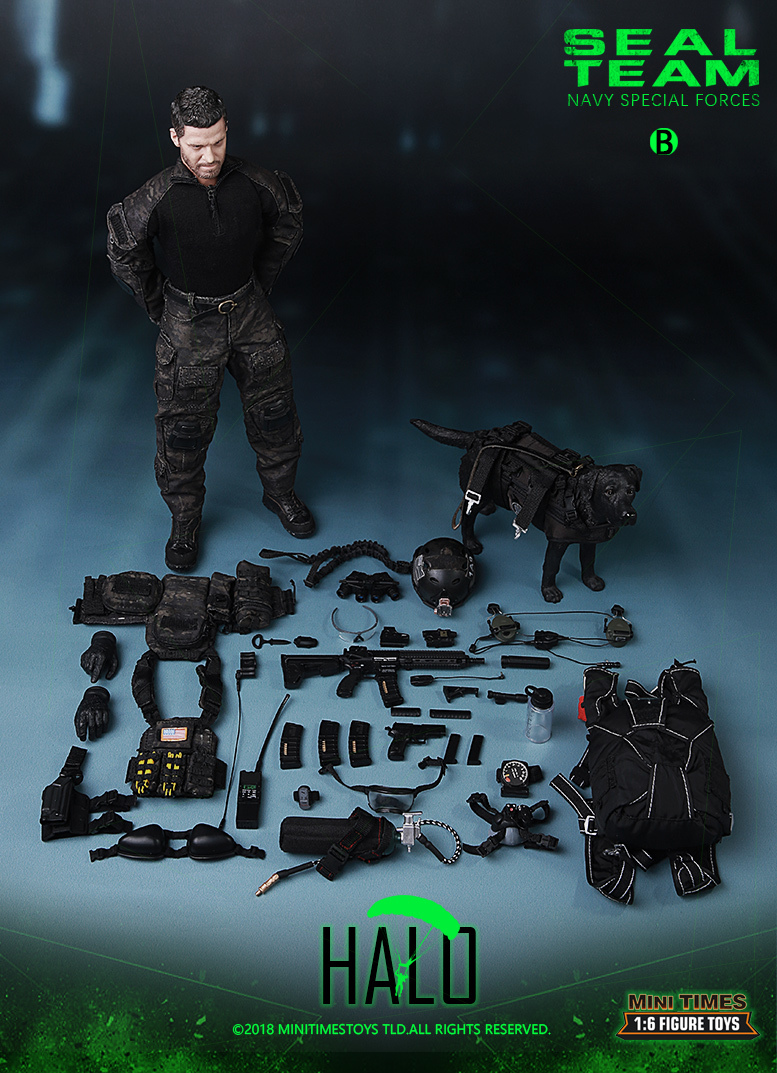 "Dog - NEW PRODUCT: MINI TIMES TOYS US NAVY SEAL TEAM SPECIAL FORCES ""HALO"" 1/6 SCALE ACTION FIGURE MT-M013 2818"