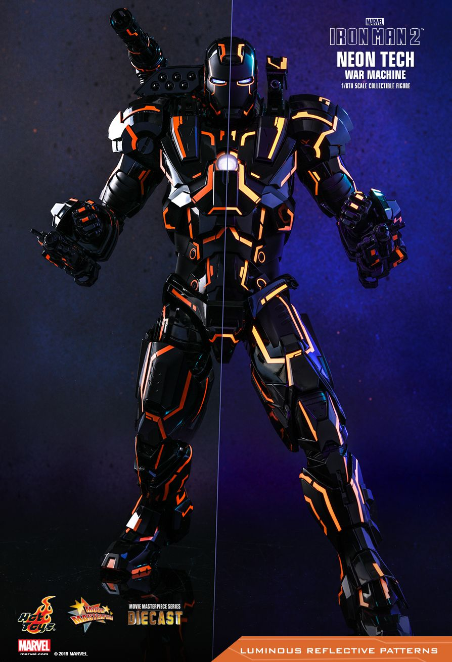 NEW PRODUCT: HOT TOYS: IRON MAN 2 NEON TECH WAR MACHINE 1/6TH SCALE COLLECTIBLE FIGURE (EXCLUSIVE EDITION) 9224