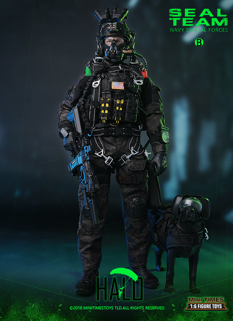 "Dog - NEW PRODUCT: MINI TIMES TOYS US NAVY SEAL TEAM SPECIAL FORCES ""HALO"" 1/6 SCALE ACTION FIGURE MT-M013 981"