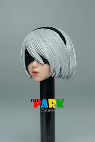 """Toys Park 1//6 TP001 2B Girl Head Sculpt w// Mask F 12/"""" Pale Phicen Action Figure"""