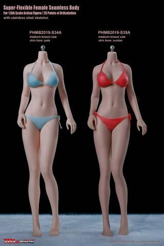 1//6 Seamless Stainless Steel Female Pale Skin Body Busty Bikini for Phicen