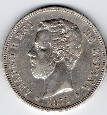 5 pesetas 1871. Amadeo I. S DM. Opinión 1871a10