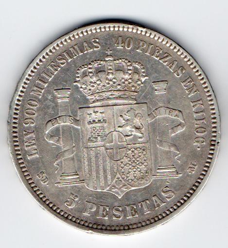 5 pesetas 1871. Amadeo I. S DM. Opinión 1871r10
