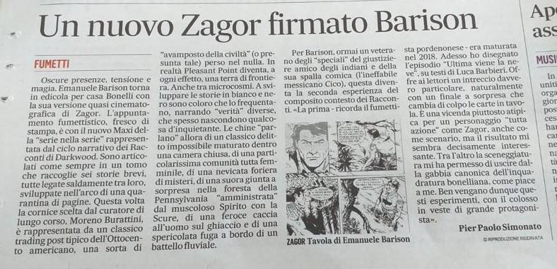 Articoli su quotidiani e riviste riguardanti Zagor  10061510