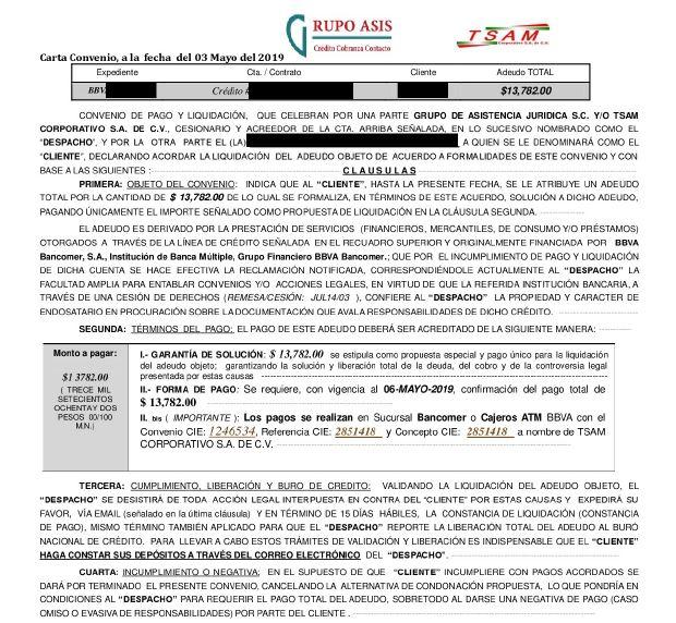 DEUDA CON GRUPO ASIS TSAM - BBVA Carta_10