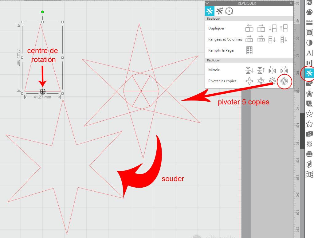 réapprendre à utiliser Silhouette studio : étoiles et matériaux prédéfinis Captur12