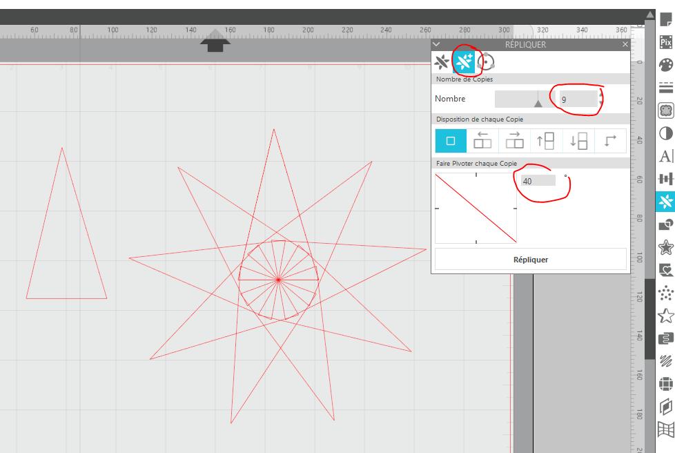 réapprendre à utiliser Silhouette studio : étoiles et matériaux prédéfinis Captur50