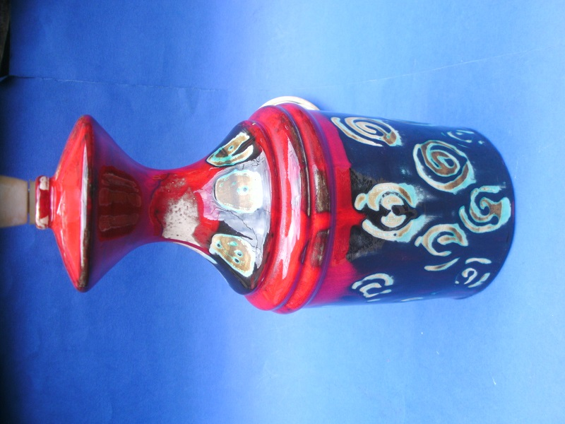 Unidentified Red and Black art pottery lamp base  Pict0512