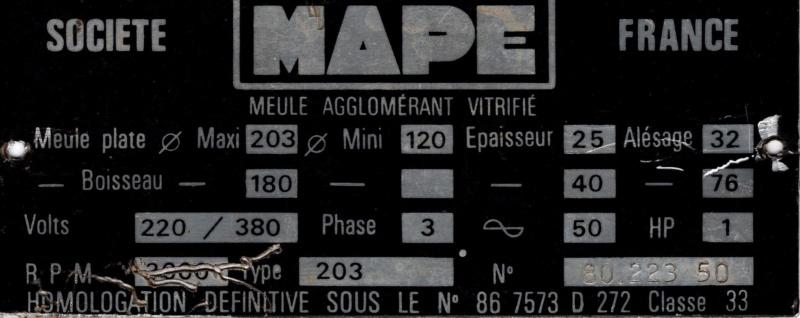 Rafraichissement/restauration Touret MAPE 203 Plaque10