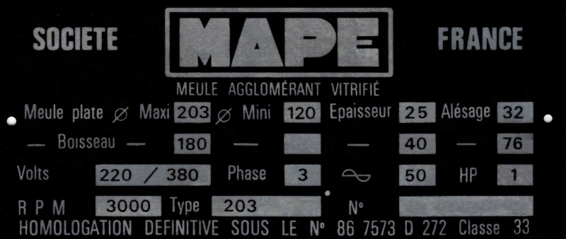 Rafraichissement/restauration Touret MAPE 203 Plaque11