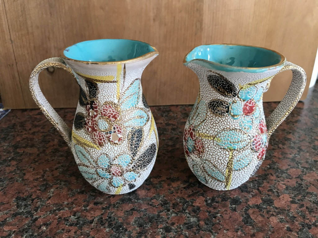 Pair of small decorative jugs, Italian Colorobbia 'Sfuggente' glazed jugs 69212210