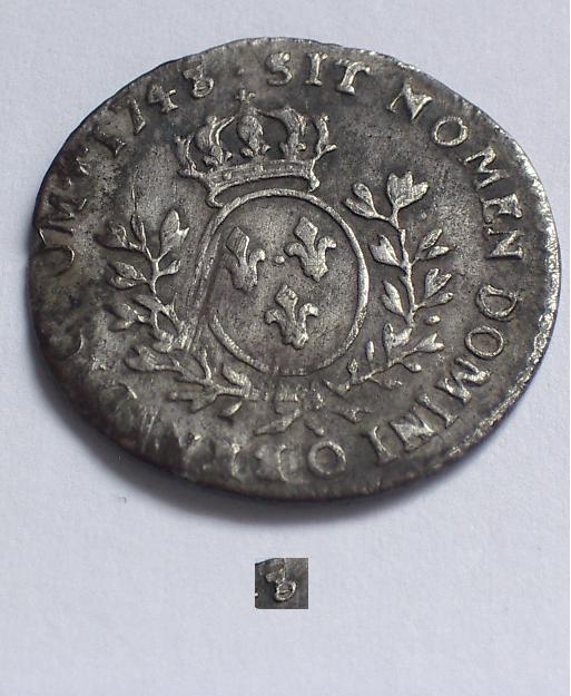 1/20 ème d' Ecu au Bandeau, Louis XV 1743 O Riom_310
