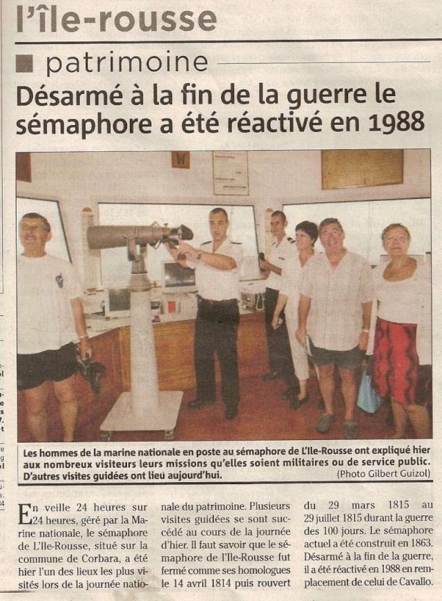 [ Les sémaphores - divers ] Les sémaphores en Corse vus par Corse Matin Corse_13