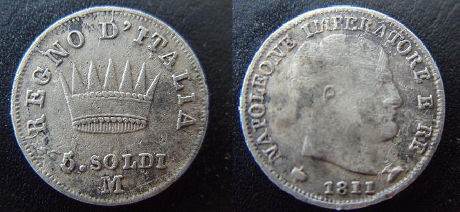 Reino de Italia, Milano, 5 soldi de Napoleon, 1811. 5soldi10