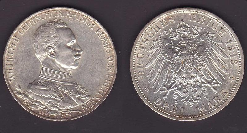 Imperio Alemán (Prusia), 3 marcos, 1913. Img22910