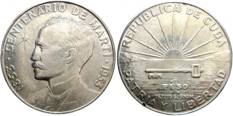 1 Peso (José Martí). Cuba. 1953 Kgrhqf10