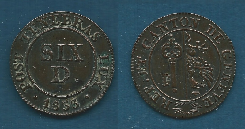 6 Deniers. Suiza. 1833 Kgrhqf11
