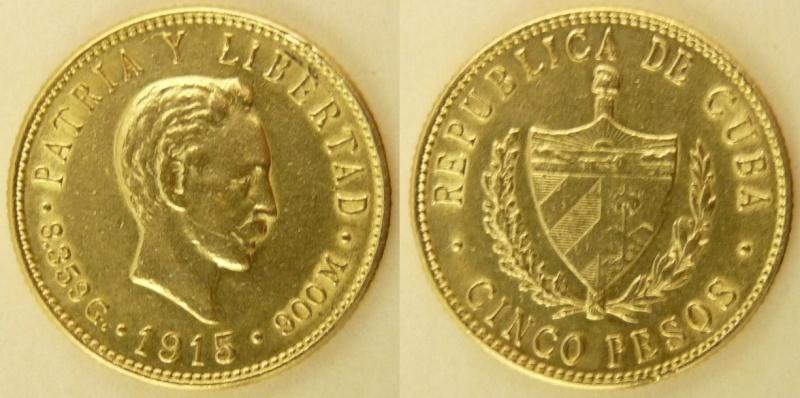 5 Pesos. Cuba. 1915 Kgrhqj10