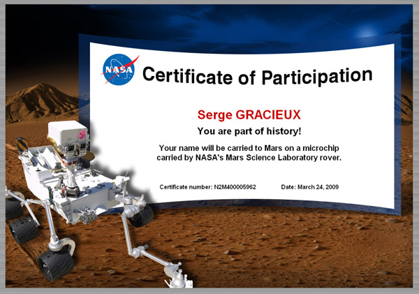 [Curiosity/MSL] Certificat de participation Sg10